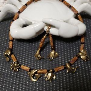 Sealife vintage necklace set